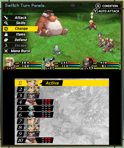 Radiant Historia: Perfect Chronology Top and bottom screen of battle system.