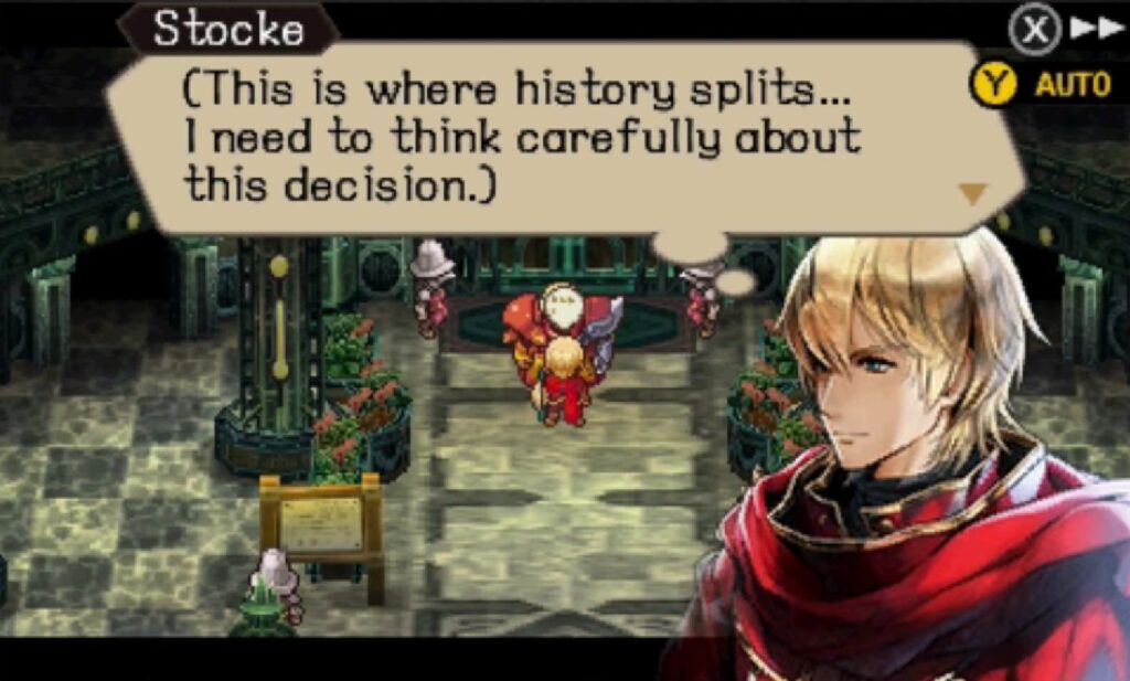 Screenshot of Radiant Historia: Perfect Chronology, Character stocke making a decision.